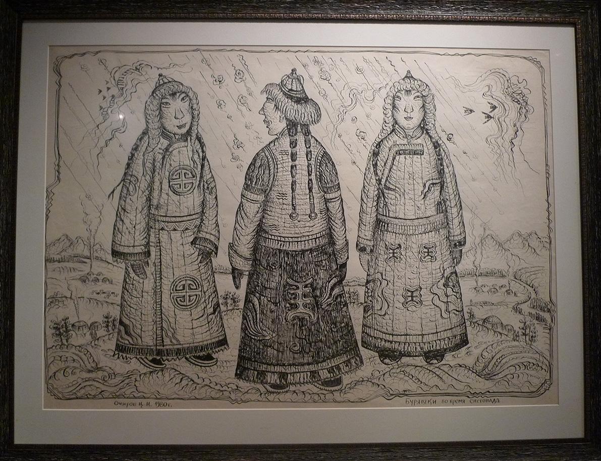 Бурятки во время снегопада. Очиров Ц.Н., 1980 г.