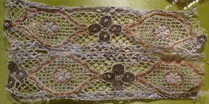 Кружево мерное. Россия, XVIII - начало XX вв. Металлическая нить, лен; плетение на коклюшках.