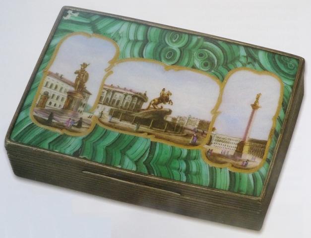 Табакерка с имитацией малахита. Россия, 1830-е гг.