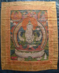 Шадакшари Авалокитешвара. Тибет, XIX-XX вв. Х/б ткань, минеральные краски