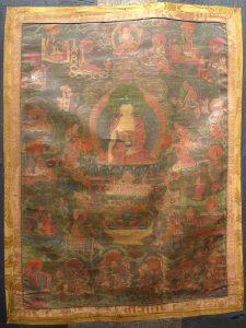 Будда Шакьямуни с учениками. Тибет, XVIII в. Х/б полотно, минеральные краски