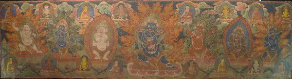Дхармапалы. Мустанг, кон. XVIII - нач. XIX в. Холст, грунт, водо-клеевая живопись, позолота