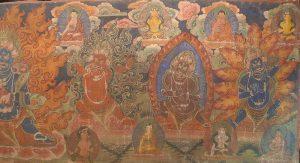 Дхармапалы (фрагмент). Мустанг, кон. XVIII - нач. XIX в. Холст, грунт, водо-клеевая живопись, позолота