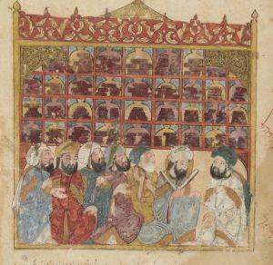 "Миниатюра Яхьи-бен-Махмуда из манускрипта ""Макамы"" аль-Харири (1237 г.)"