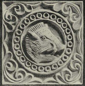 Плита резного стука с изображением головы кабана. Тепе-Гиссар близ Дамгана