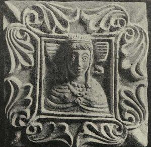 Плита резного стука с погрудным изображением женщины. Тепе-Гиссар близ Дамгана