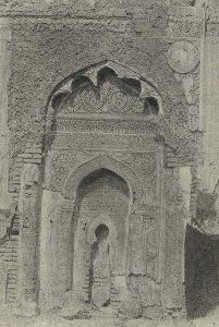 Михраб мечети резного стука в Мешхед-и-Мисриан