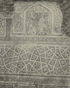 Термез. Дворец термезских правителей. Панно на южной стене с изображением фантастического зверя и орнаментированной стены под ним