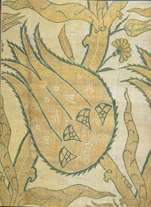 Фрагмент турецкой (османской) ткани с мотивом тюльпана