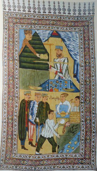 Каламкар с изображением базарного ряда (Иран)