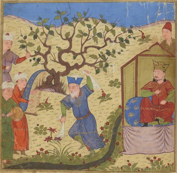 Газан наблюдает, как монгольский военачальник танцует перед ним