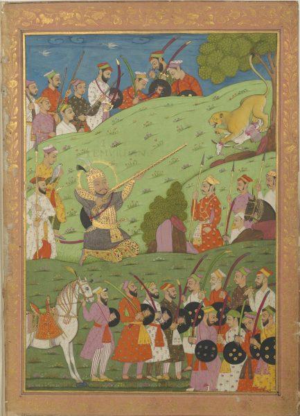 Тамерлан, прародитель династии Великих Моголов, правителей Индостана, в окружении солдат в индийских одеждах XVII века