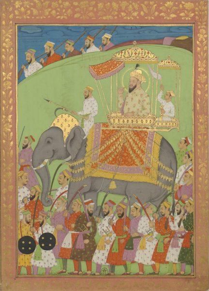 Бабур, основатель династии Великих Моголов, окруженный индийскими солдатами XVII века.