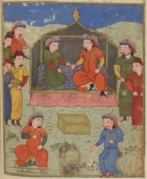 Абага, монгольский правитель Персии и его сын Аргун, сидящие на троне