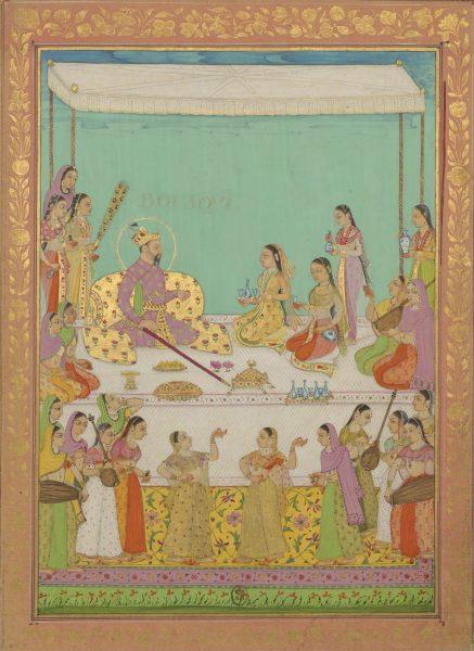 Болаки, иначе известный как Хосров (старший сын правителя Империи Великих Моголов Джахангира), в окружении служанок, музыкантш и танцовщиц
