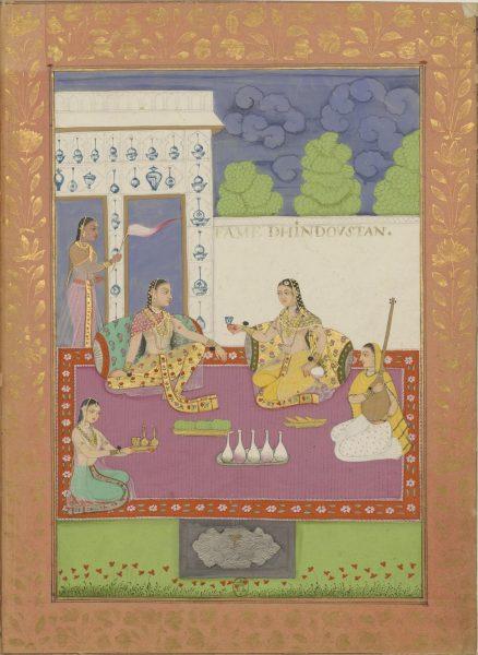 Две индийские дамы на террасе. С ними - две служанки и музыкантша