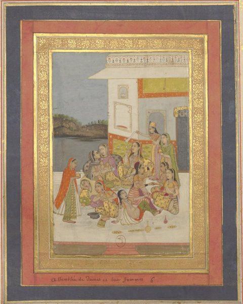 Индийские женщины на террасе дворца