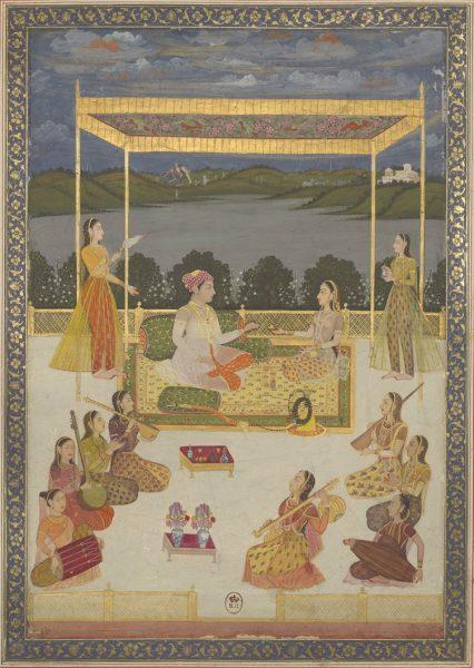 Индийский принц, сидящий в компании женщины, с музыкантшами, на террасе дворца, возвышающегося над рекой