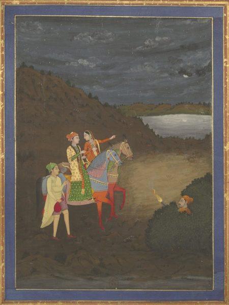 Индийский принц и молодая женщина верхом на лошадях, их сопровождает слуга