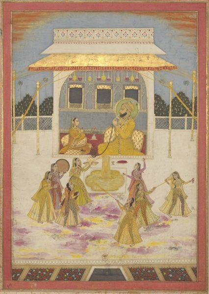 Император Индии из династии Великих Моголов сидит под балдахином с женщиной