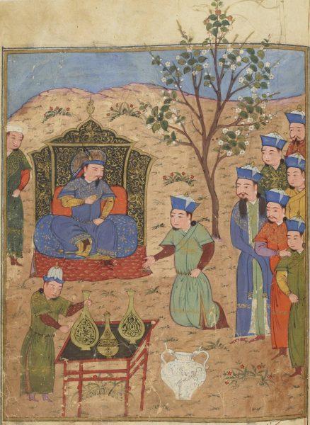 Гейхату, монгольский правитель Персии, сидящий на троне