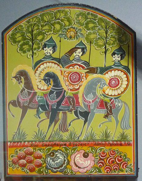 """Панно """"Три богатыря в дозоре"""". Т.Н. Рукина. 1992 г."""