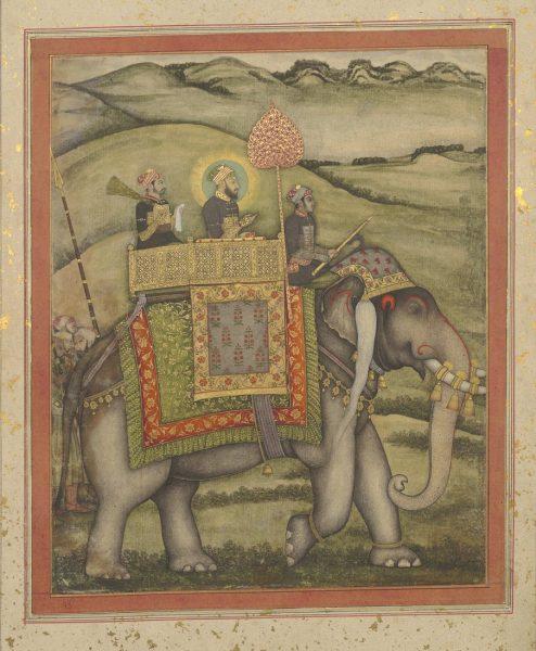 Бахадур Шах (?) верхом на слоне. Могольская школа, конец XVII в.