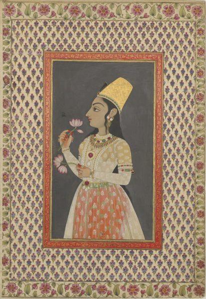 Мусульманская дама с цветами лотоса. Могольская школа (?), 1750 г. (?)