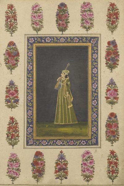 Музыкантша (играющая на танпуре). Могольская провинциальная школа, 1760 г. (?)