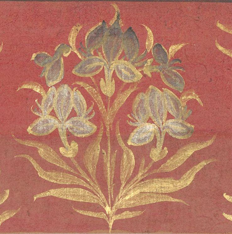 Цветочный орнамент могольских миниатюр
